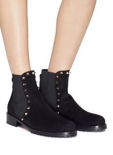 Valentino Beatle铆钉松紧带拼接绒面小牛皮切尔西靴