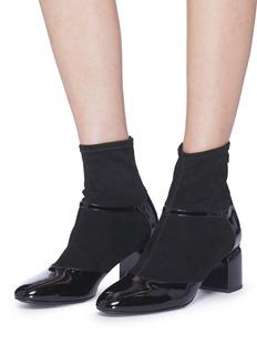 PIERRE HARDY Laura绒面真皮拼接漆皮袜靴