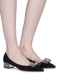 RENÉ CAOVILLA 人造珍珠蝴蝶结绒面真皮粗跟鞋