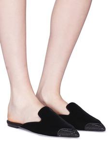 RENÉ CAOVILLA 仿水晶尖头天鹅绒拖鞋