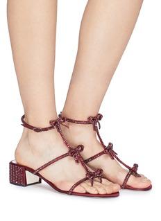 RENÉ CAOVILLA 蝴蝶结搭带仿水晶粗跟凉鞋