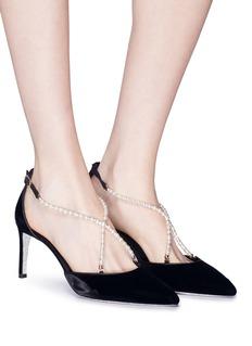RENÉ CAOVILLA 人造珍珠交叉搭带天鹅绒细跟鞋