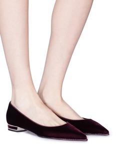 RENÉ CAOVILLA 仿水晶边饰天鹅绒平底鞋