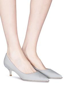 RENÉ CAOVILLA 仿水晶边饰天鹅绒尖头高跟鞋