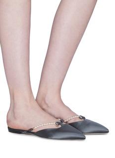 RENÉ CAOVILLA 人造珍珠搭带蝴蝶结缎面拖鞋