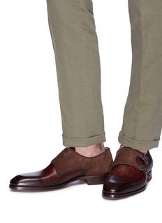 MAGNANNI 双搭扣绒面真皮拼接僧侣鞋