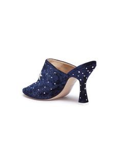 Attico Pamela仿水晶星月图案天鹅绒穆勒鞋