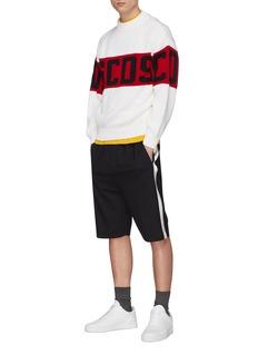 GCDS 品牌名称粗条纹混美丽诺羊毛针织衫
