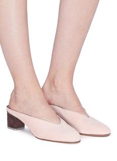 Gray Matters Mildred拼色粗跟绒面真皮穆勒鞋