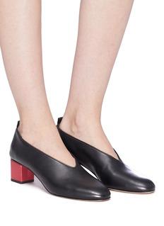 Gray Matters Mildred拼色粗跟真皮奶奶鞋