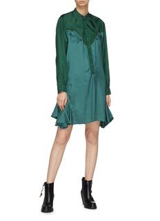 TOGA ARCHIVES 拼接设计荷叶边缎面衬衫裙