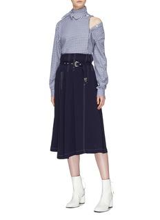 TOGA ARCHIVES 系结衣领切割设计格纹府绸衬衫