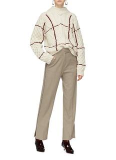 TOGA ARCHIVES 拼色线条露背混羊毛绞花纹针织衫