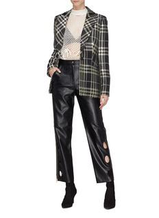 SELF-PORTRAIT 圆形镂空侧拉链人造皮革长裤