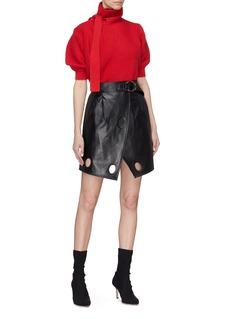 SELF-PORTRAIT 镂空系带泡泡袖针织衫