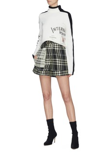 SELF-PORTRAIT 拼色口袋格纹提花高腰短裤