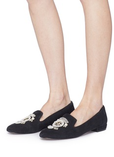 SAM EDELMAN Josaphina人造珍珠及仿水晶图案绒面真皮乐福鞋
