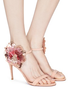 AQUAZZURA Disco Flower 85亮片花卉绒面真皮高跟凉鞋