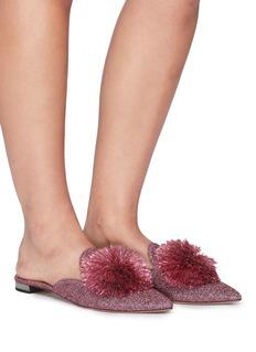 AQUAZZURA Powder Puff流苏毛球闪亮丝线露跟平底鞋