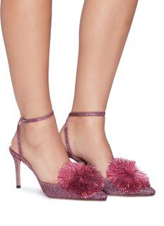 AQUAZZURA Powder Puff 85流苏毛球闪亮丝线高跟鞋