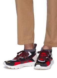 Valentino Sound High真皮网格拼色针织运动鞋