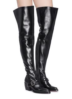 CHLOÉ Rylee搭扣设计粗跟真皮过膝长靴