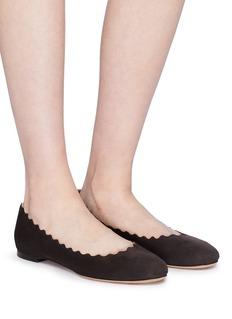 CHLOÉ Lauren波浪边绒面真皮平底鞋
