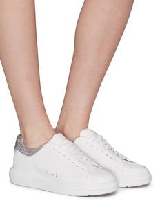 Pedder Red Louie仿水晶绒面真皮拼接真皮厚底运动鞋