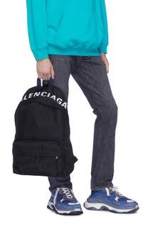 BALENCIAGA Wheel品牌名称刺绣双肩包
