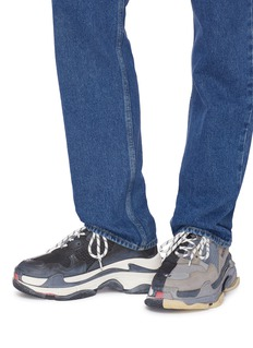 BALENCIAGA Triple S拼色网眼布拼接真皮运动鞋