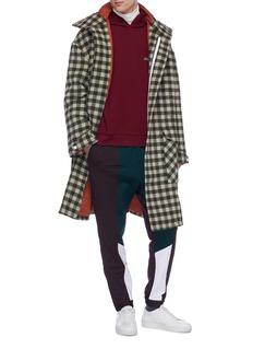 8ON8 格纹oversize羊毛夹棉连帽大衣