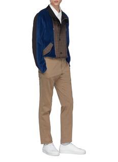8ON8 拉链设计灯芯绒及格纹拼接夹克