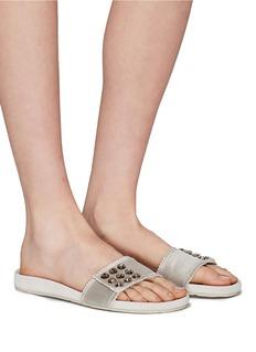 PEDRO GARCÍA Amelin仿水晶铆钉缎面拖鞋