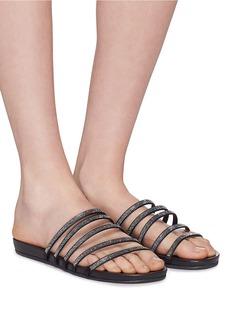 PEDRO GARCÍA Gala五重仿水晶缎面搭带平底拖鞋