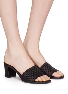 PEDRO GARCÍA Xian篮编缎面粗跟穆勒拖鞋