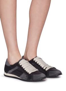 PEDRO GARCÍA Cristina绒面真皮拼接缎面运动鞋