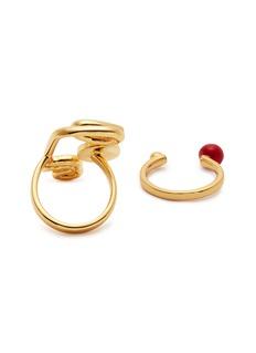 OOAK Abstract Face抽象线条金属戒指两件套