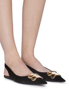 BALENCIAGA BB金属缀饰天鹅绒平底鞋