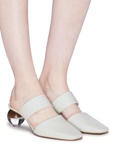 NEOUS Masdevallia圆球鞋跟搭带真皮穆勒鞋