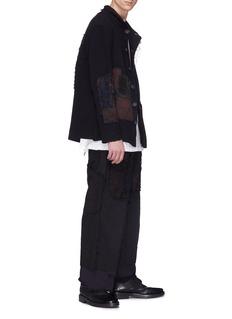 BY WALID 缝线补丁亚麻混棉西服夹克