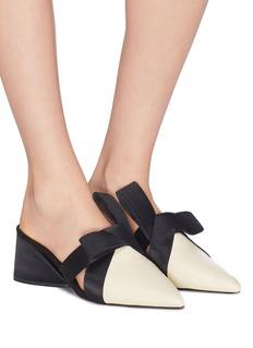 MERCEDES CASTILLO Blanche Mid拼色缎面折纸式结饰真皮粗跟穆勒鞋