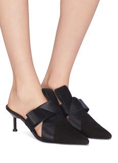 MERCEDES CASTILLO Suma Mid缎面折纸式结饰绒面真皮穆勒鞋