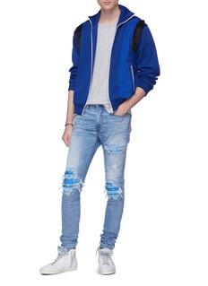 AMIRI MX1 Blue Bandana破洞印花补丁水洗修身牛仔裤