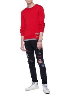 AMIRI Art Patch徽章破洞印花补丁修身牛仔裤