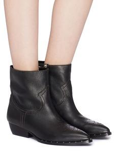 SAM EDELMAN Ava缝线图案铆钉围边真皮短靴