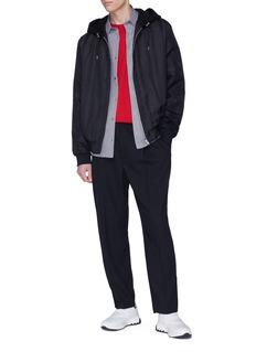 MCQ ALEXANDER MCQUEEN 暗条纹初剪羊毛混棉连帽夹克