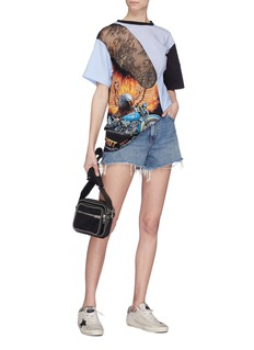 Dry Clean Only Rider蕾丝拼接条纹及印花纯棉T恤