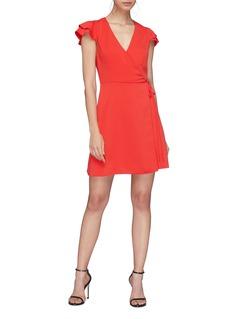 alice + olivia Doralee双层荷叶边衣袖包裹式连衣裙