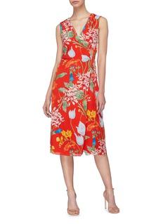 alice + olivia Tasia包裹式V领真丝连衣裙