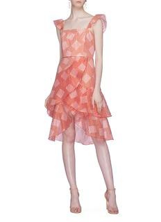 alice + olivia Azura搭叠荷叶边条纹薄纱连衣裙
